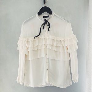 BRAND NEW! TRF Zara button down ruffle shirt sz XS